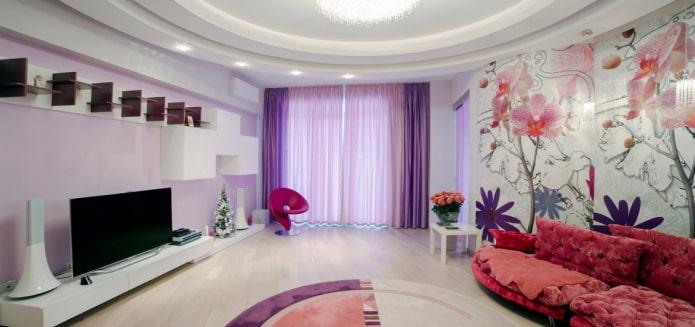 сочетание сиреневого и розового цвета в интерьере