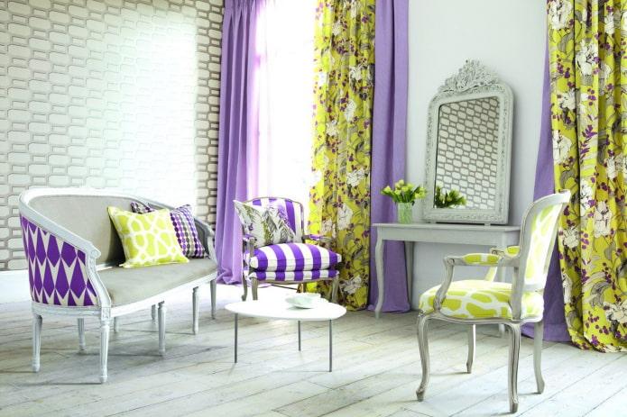 шторы с сочетанием сиреневого и желтого цвета