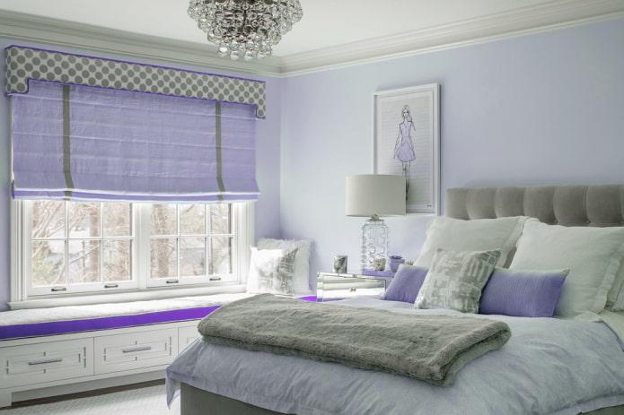шторы с сочетанием сиреневого и серого цвета