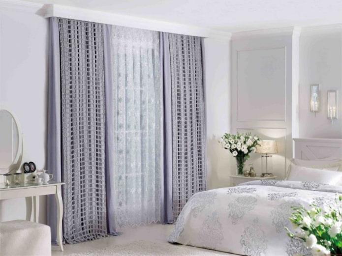 двойные шторы бледно-сиреневого цвета