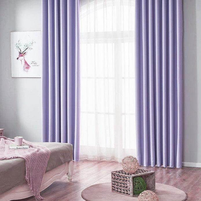 длинные шторы сиреневого цвета