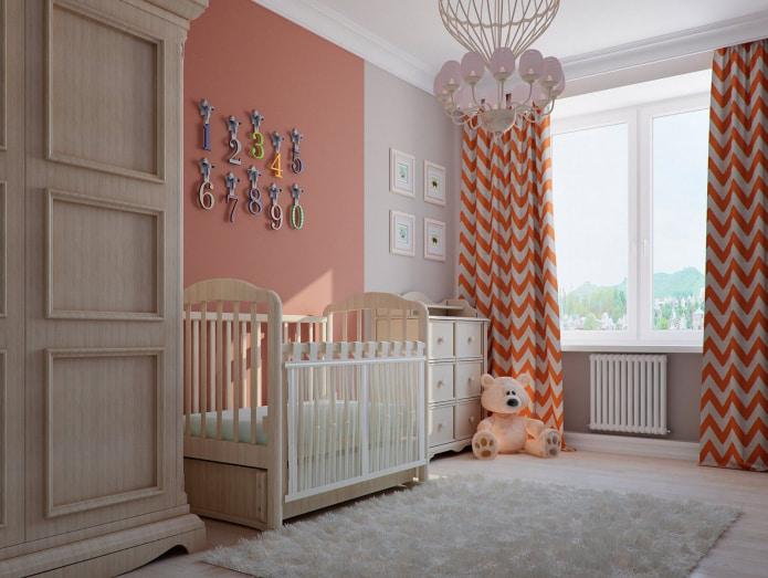 Бело-оранжевые шторы