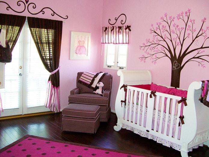 коричнево-розовые занавески