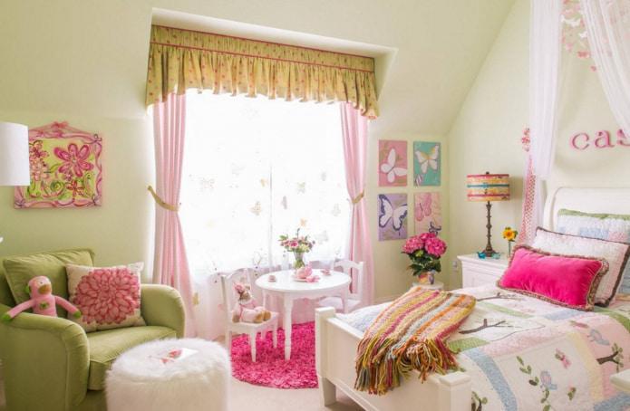 розово-салатовые шторы