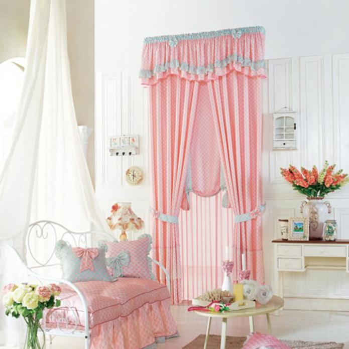 розово-голубые шторы