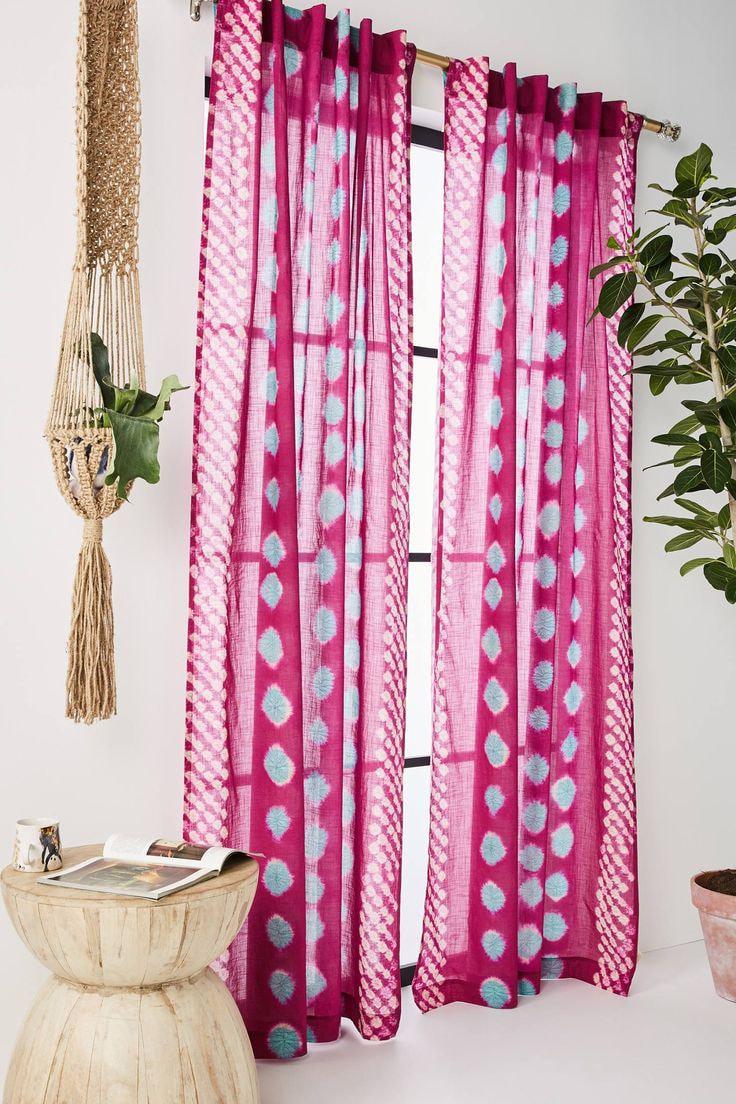 розово-бирюзовые занавески