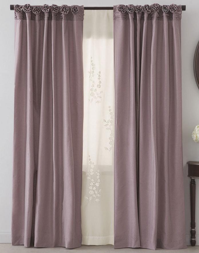 пепельно-розовые шторы