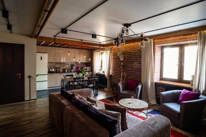 шторы из хлопка в гостиной в стиле лофт