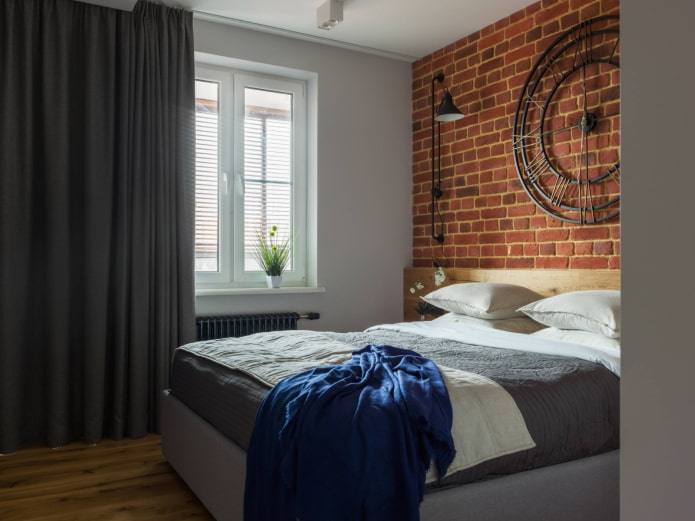черные шторы в спальне в стиле лофт