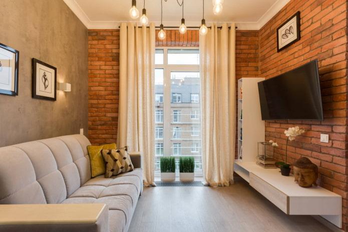 шторы на люверсах в гостиной в стиле лофт
