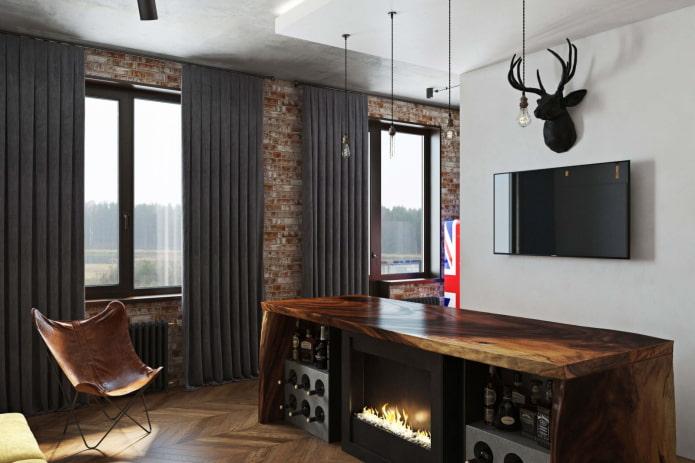 шторы блэкаут в интерьере в стиле лофт