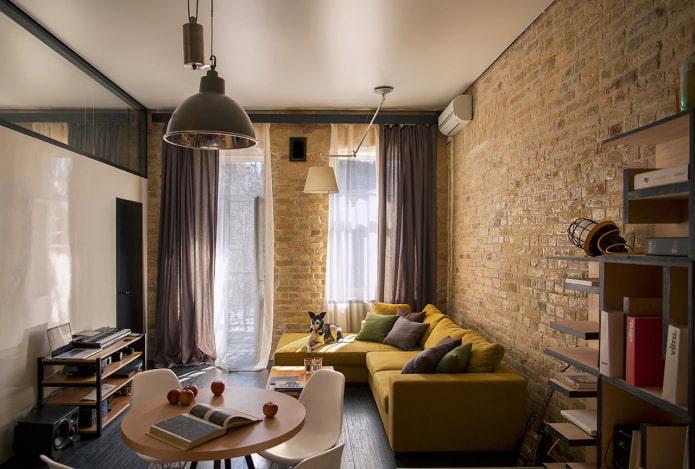 шторы в гостиной в стиле лофт