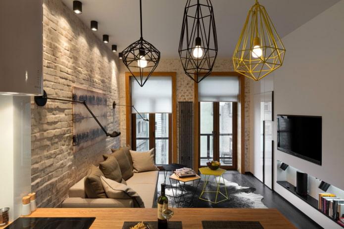 рулонные шторы в гостиной в стиле лофт