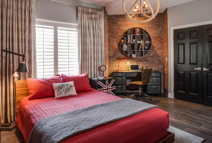 шторы на кольцах в спальне в стиле лофт