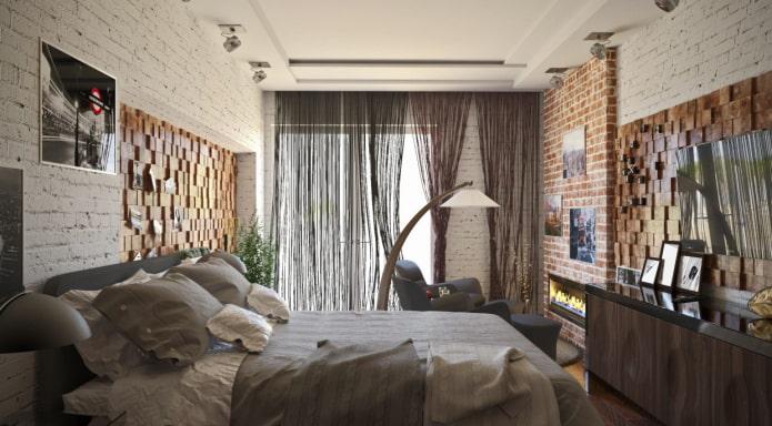 кисея в спальне в стиле лофт