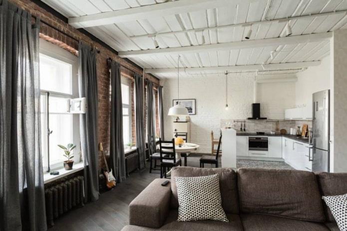 шторы на петлях в гостиной в стиле лофт