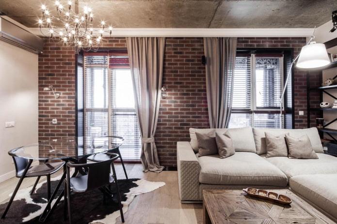 длинные шторы в гостиной в стиле лофт