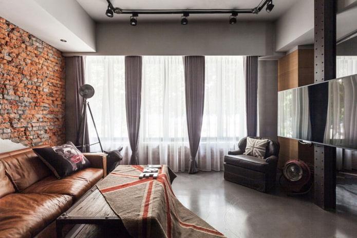шторы с зажимами в гостиной в стиле лофт