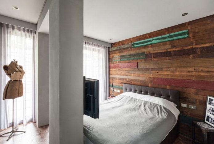 гардины в спальне в стиле лофт