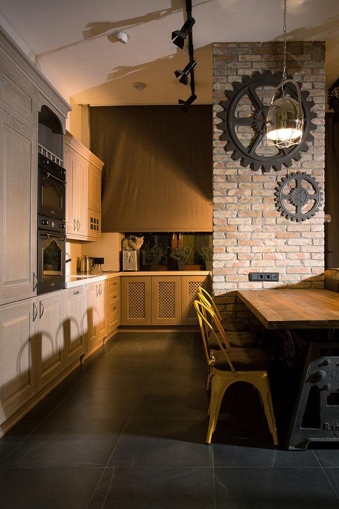 рулонные шторы на кухне в стиле лофт