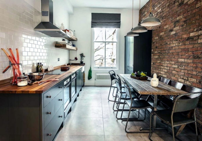 римские шторы на кухне в стиле лофт