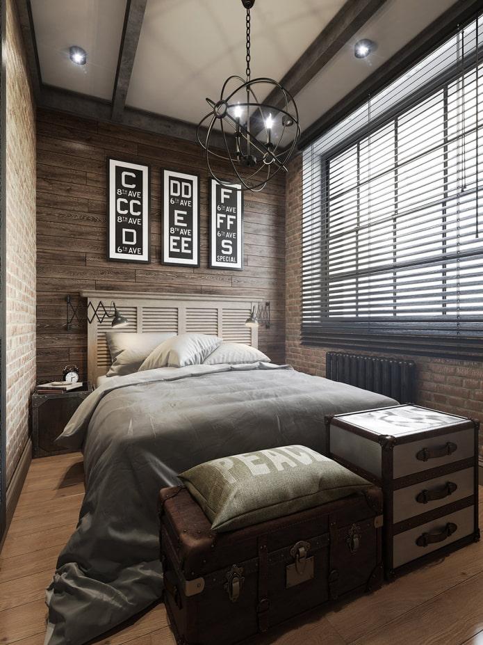 жалюзи в спальне в стиле лофт