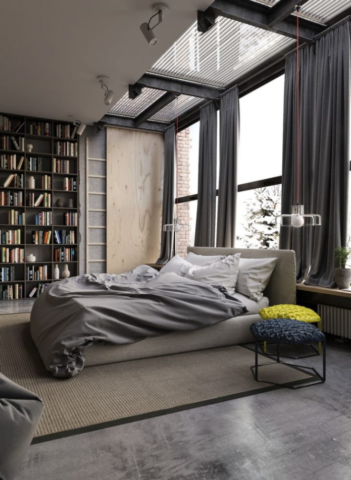 портьеры в спальне в стиле лофт