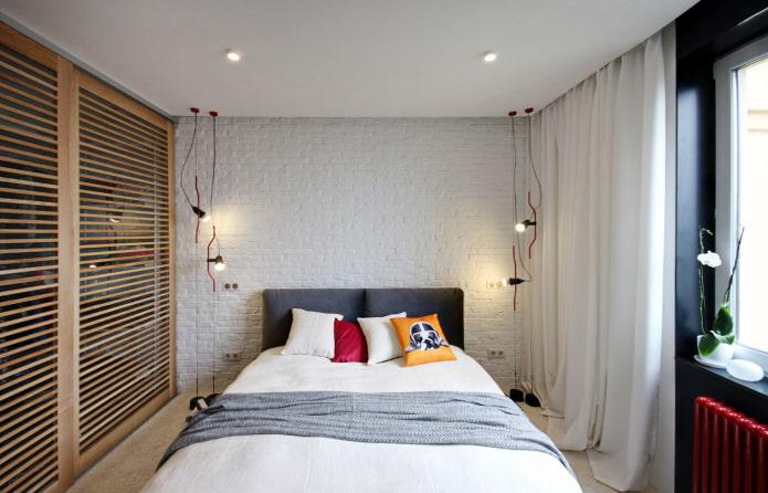 белые шторы в спальне в стиле лофт