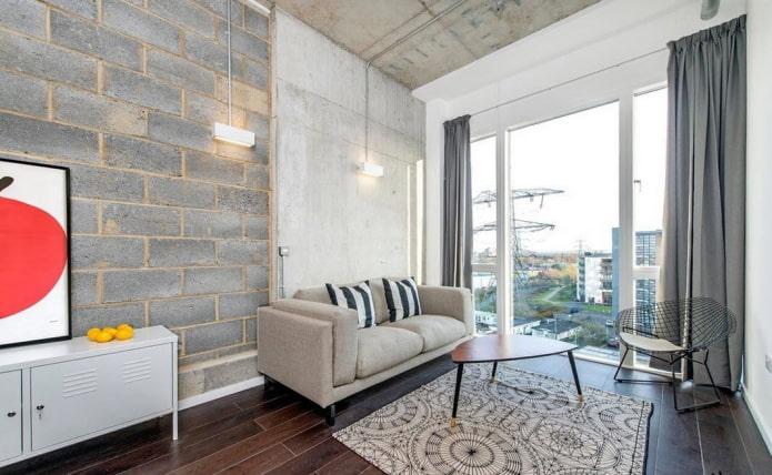 шторы на тесьме в гостиной в стиле лофт