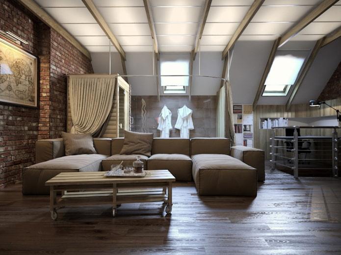 рулонные шторы на мансарде в стиле лофт