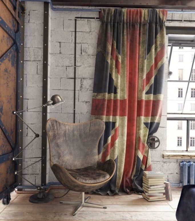шторы с держателями в стиле лофт