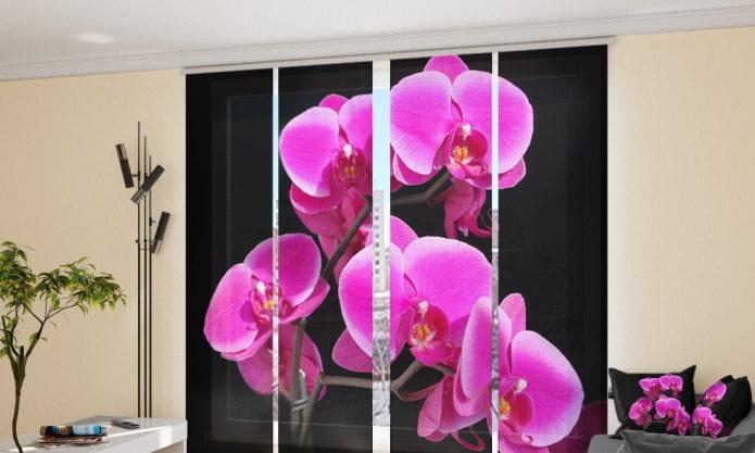 Шторы с цветами: 60 фото, идеи цветочных принтов (роза, маки, сакура, пионы)