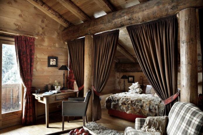 шторы с подхватами в интерьере спальни