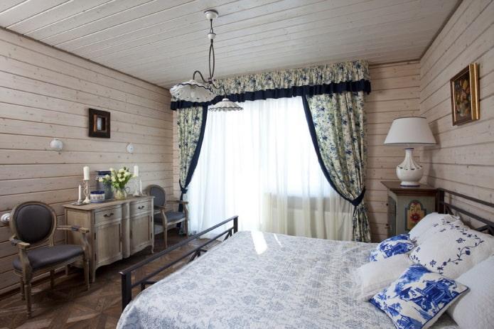 шторы с похватами в интерьере в стиле прованс