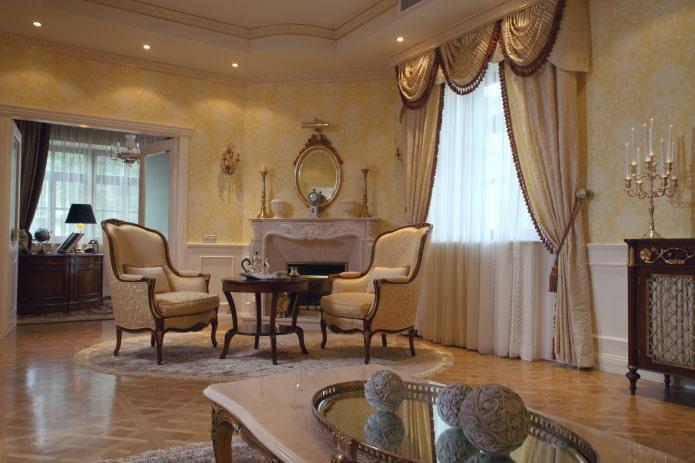 шторы с подхватами в классическом стиле