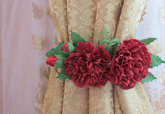 прихваты для штор с цветами из фоамирана
