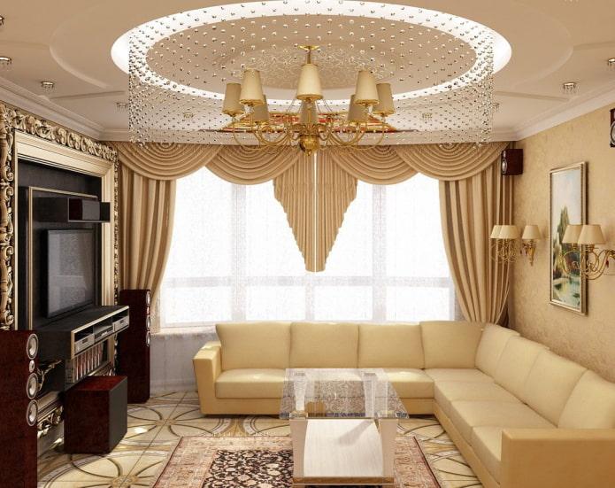 Однотонный ламбрекен в бежевой гостиной