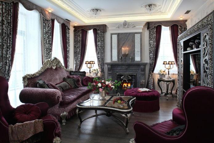 богатые элитные ламбрекены в гостиной