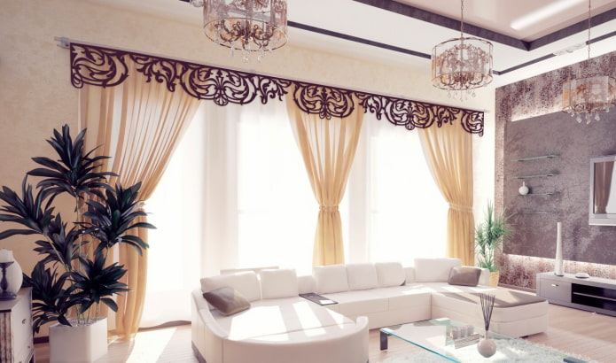 ажурный ламбрекен в современной гостиной