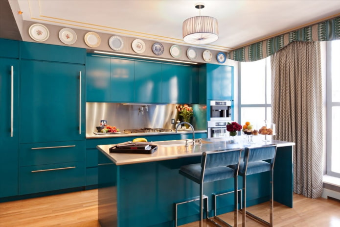 ламбрекены в интерьере кухни в современном стиле