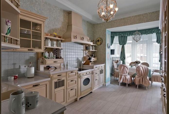 ламбрекены на кухне в стиле прованс