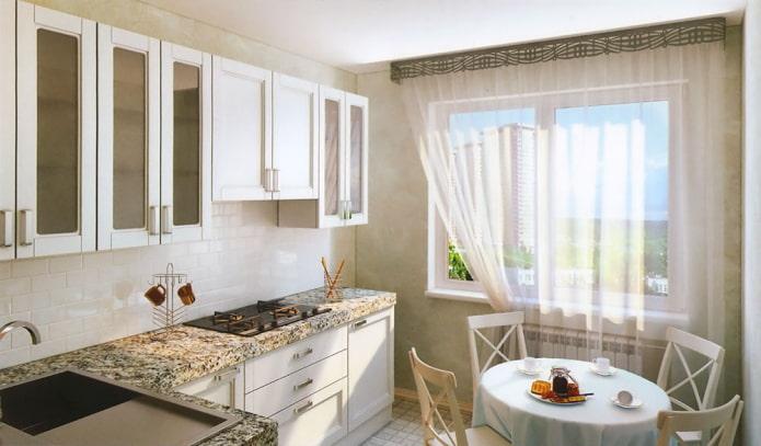 ажурный ламбрекен в интерьере кухни