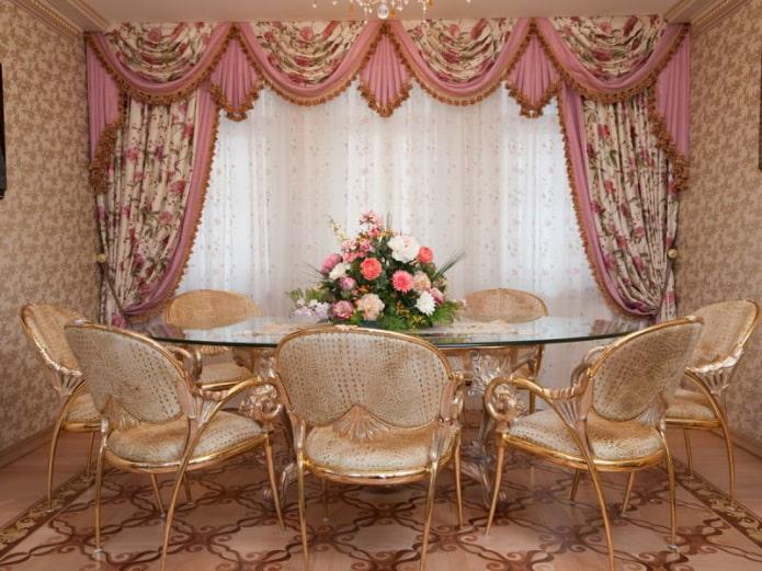 ламбрекены розового цвета в интерьере