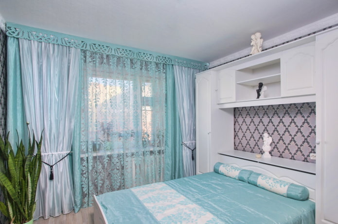 ажурный ламбрекен в спальне