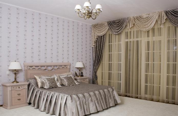 ламбрекены с гардинами в спальне