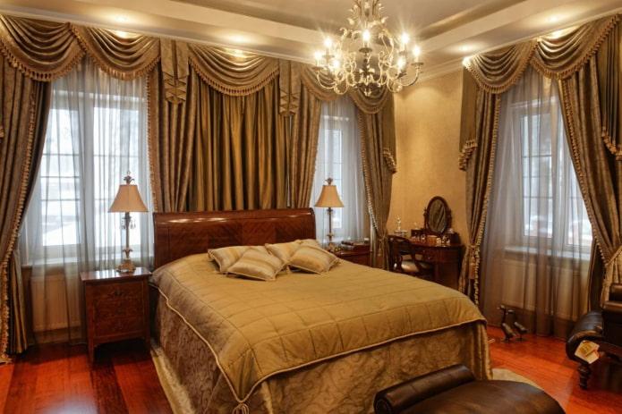 ламбрекены на два окна в спальне