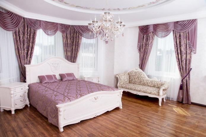 ламбрекены из органзы в спальне