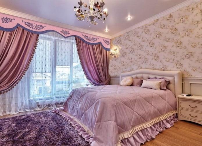 ламбрекен из фетра в интерьере спальни