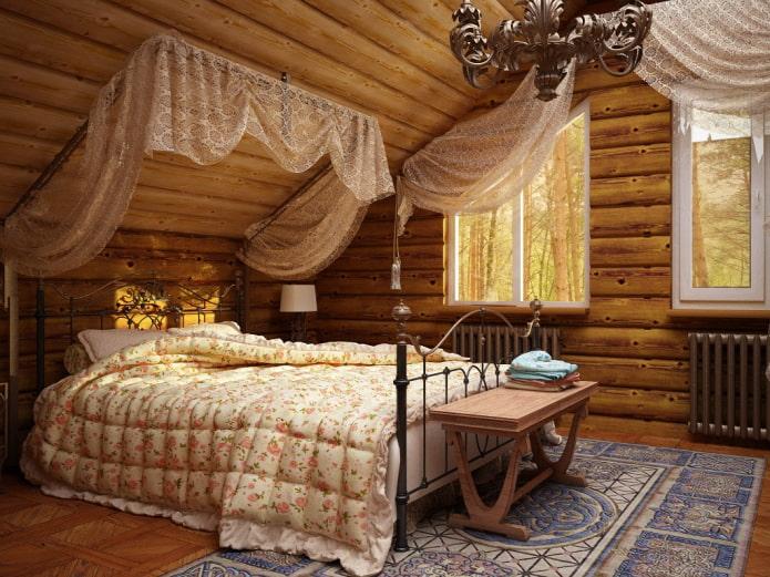ламбрекены в спальне в стиле кантри