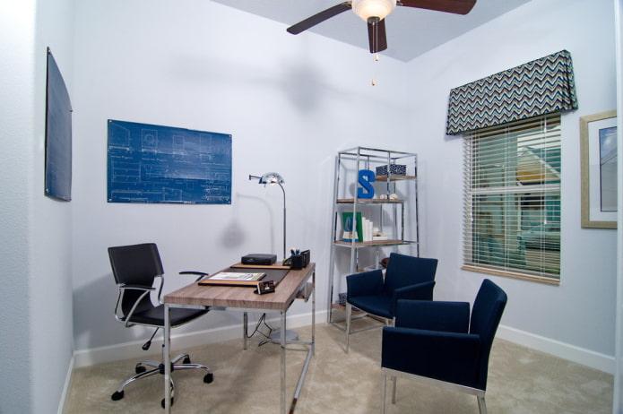 жесткий ламбрекен в интерьере кабинета